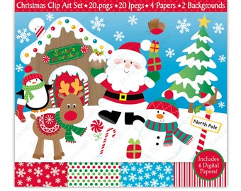 Christmas Clipart,Christmas Digital Papers,Christmas Clip Art,Santa Clipart,Holiday Clipart,Reindeer Clipart,Snowman,Scrapbooking,Commercial