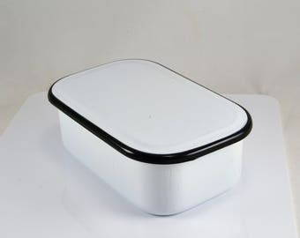 Enamelware Refrigerator Pan - Covered - White with Black Band  - 8 x 5 Size - Vintage Farmhouse Kitchen