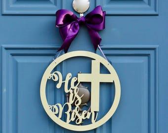 He is Risen Sign , Easter Door Hanger , Easter Garden Flag , Outdoor Spring Decor , Easter Decoration , He is Risen Flag  , Wreath Obsessed