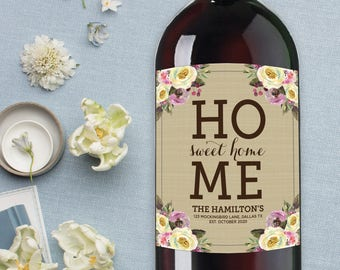 Home Sweet Home Wine Label, Personalized Housewarming Gift, First Home Together Gift, New House, Realtor Gift, Personalized New Home Gift