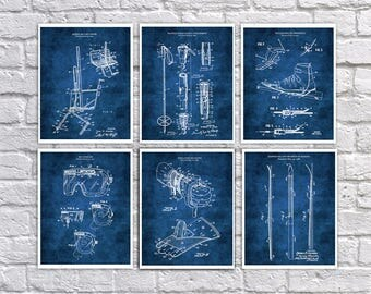 Skiing decorations for home a set of 6 ski patent art prints with blue background. Unique Decor for Winter Ski lodge, great as skiing gifts.