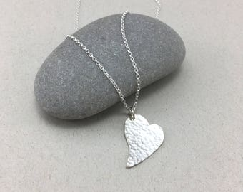 Hammered Heart Pendant, Silver Heart Necklace, Asymmetrical Heart Pendant, Love Heart Necklace, Valentines Pendant, Hammered Silver Necklace