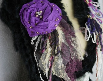 """Wool Vest with and natural rabbit, waistcoat, """"Wild blueberry"""" hot and feminine, Art to wear, Unique"""