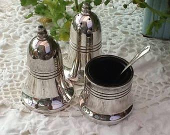 Silver cruet set ,salt pot, pepper pot, mustard pot,  vintage set, EPSN silver set , bell shaped salt , bell shaped pepper, super condition