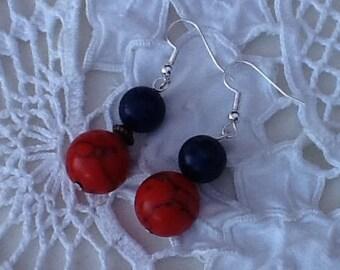 Coral and lapis lazuli earrings, gemstone earrings
