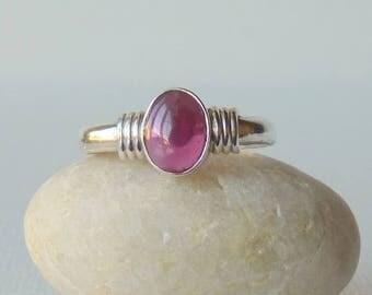 Sterling Silver Garnet Ring, Vintage Garnet, January Birthstone Ring,  Minimalist Garnet Ring, Retro Garnet Jewelry Size 7.5 Girls Ring
