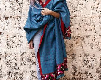 Antique Tribal Blanket Shawl With Embroidery, Boho Blanket, Vintage Blanket, Throw Blanket, Gypsy, Kulu Shawl