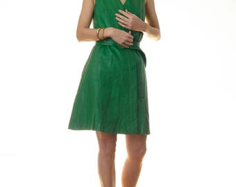 Vintage Beged-Or Green Leather Sleeveless Wrap Dress Small VGC 70s