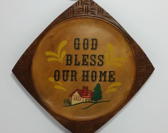 """Vintage Hand Painted Folk Art """"God Bless Our Home"""" Wooden Wall Plate / Plaque / Art"""