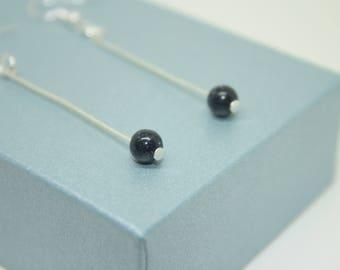 Blue Goldstone Earrings, Boho Jewellery, Galaxy Earrings, Gemstone Jewellery, Long Drop Earrings, Sterling Silver