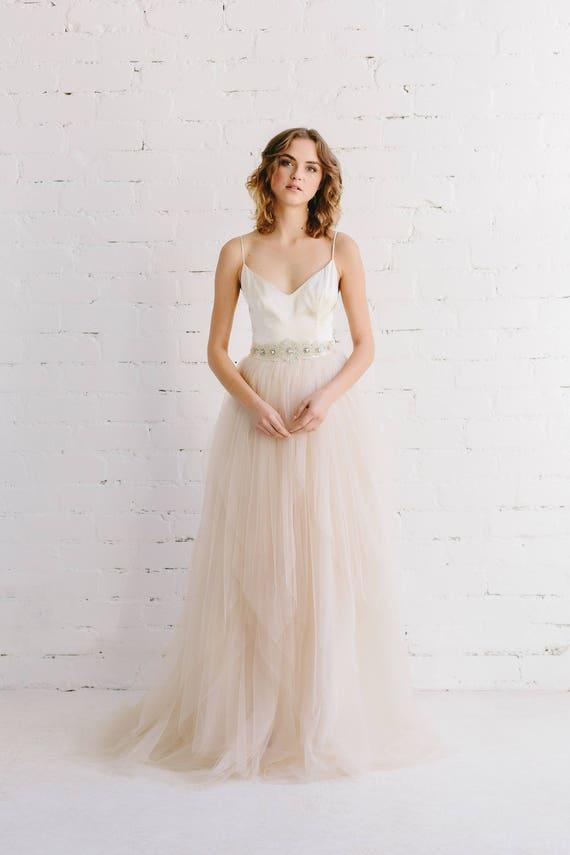 Blush wedding dress silk wedding gown bohemian wedding like this item junglespirit Choice Image