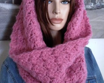 Crocheted Cowl Scarf, 3 Season Cowl Handmade Pink Scarf Double Thick Rich Rose Pink Cowl Infinity Scarf Valentine Gift for Her READY TO SHIP