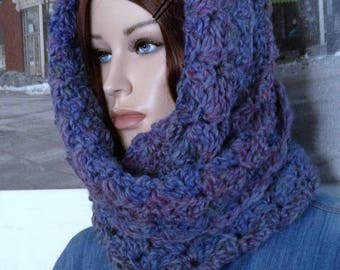 3 Season Hooded Cowl Ultra Soft Handmade Cowl Scarf  Infinity Scarf Dark Violet Purple Brandy Wine Christmas Gift for Her READY TO SHIP