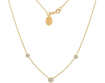 Tousi Jewelers Diamond Necklace Solitaire Pendant - Solid 14k Yellow Gold - 0.20 ct White Stone – Free Disc Engraving- April Birthstone