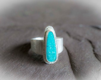 Turquoise Silver Ring, Nevada Blue Turquoise, Modern Turquoise Ring, Natural Turquoise Ring