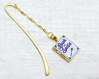 Book Of Spells Metal Bookmark Book Charm Wizard Magic Witch Reading Accessories Book Lover Literary Gifts with Personalised Library Card