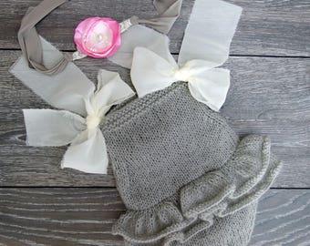 Newborn Photo Props, Baby Girl Romper, Knit Baby Romper, Mohair Romper, Knit Baby Overall, Knitted Baby Onesie, fairytale gift