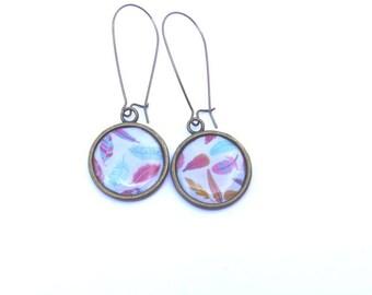 feathers earrings long earrings, women earrings, bronze and brass, round earrings multicolored