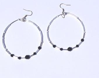 EARRINGS silver hoops, hoop earrings, Pearl hoop earrings