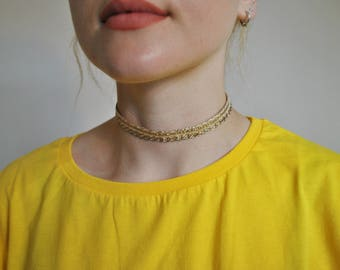 Gold choker very sparkly necklace ideal for a prom, wedding, night out or party
