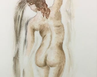 NUDE female has red hair - made WATERCOLOR 24x32CM Al