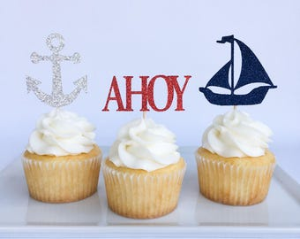 Ahoy its a boy | Nautical party | Nautical cupcake toppers | Anchor cupcake toppers | First birthday | Baby shower cupcake toppers