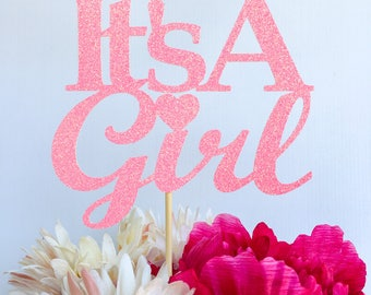 Its a girl cake topper | Baby shower cake topper | Baby girl cake topper | Gender reveal cake topper | Baby shower decor | Pink cake topper