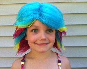 Rainbow wig, Rainbow hair, Troll wig, Pride Parade costume, Halloween costume, Costume wig, Troll costume, Troll hair, Tie Dye hair