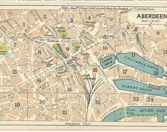 1940s map of aberdeen scotland  antique map  vintage wall decor.