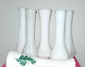 "Vintage Milk Glass Flower Vases,Lot of 6,Wedding Reception,Party Decor,8.5"" Tall,Centerpieces,Milk Glass,Milk Glass Vase,Shabby,Cottage"