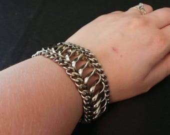 Braided Silver Chain Link Wide Chunky Bracelet