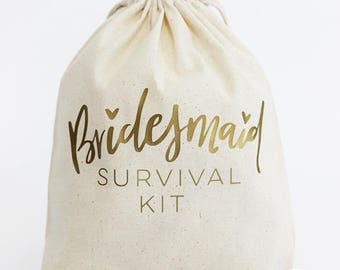 "Bridesmaid Survival Kit Bag / Bridal Party Survival Kit Bag / Bridal Party Favors / Bag Size 8""x10"""