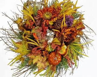 Fall Pumpkin Gourd Owl Grass Twig Wreath, Large Thanksgiving Sunflower Cedar, Harvest Peony Rose Berry Mantle Decor, Pine Cone, Dahlia