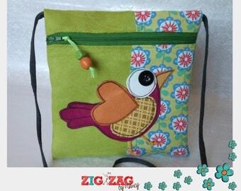 """Pocket zippered shoulder """"Big Pioukarre"""" Green Apple"""