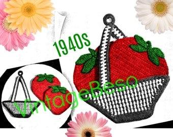 Strawberry Potholder CROCHET Pattern • PdF Pattern • Vintage 1940s Digital • Super Cute Strawberries and Basket Potholders Rosie the Riveter