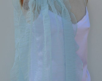 Sky blue tulle cocktail, light blue tulle bridal stole shawl, stole chic gifts, elegant blue tullt shawl blue wedding stole cocktail
