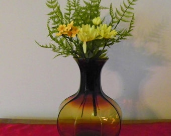 Vintage Amber Glass Vase, Large