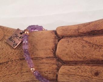 "Amethyst Gemstone and Copper ""get lucky"" Charm Beaded Bracelet February's Birthstone Gift Valentines Gift Birthday Gift"