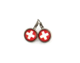 Sleepers cabochons - stainless steel - glass 12 mm - red earring - nurse health Rod - hypoallergenic / Nurse earrings