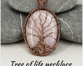 Tree-of-life necklace Rose quartz necklace Rose quartz pendant Yoga gift-for-mom gift-for-sister Reiki Healing crystal necklace Fertility