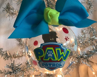 """Custom Hand Decorated 4"""" Paw Patrol inspired Chase Christmas ornament."""