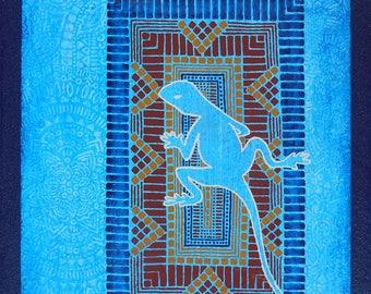 Painting Blue lizard - original painting - Blue lizard on a mosaic - Jordan lizard