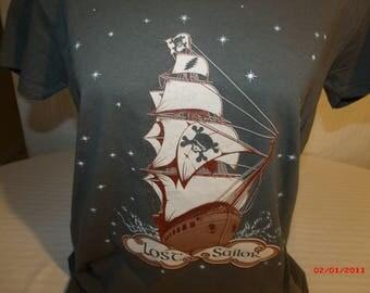 "Grateful Dead Shirt. ""Lost Sailor"" Ladies V-neck T shirt."