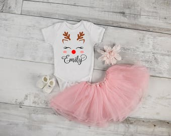 Personalized Reindeer - Add Name - Baby Bodysuit Top Toddler Tee Shirt - Holiday Christmas Baby Shower Winter Season Rudolf Red Nose Cute