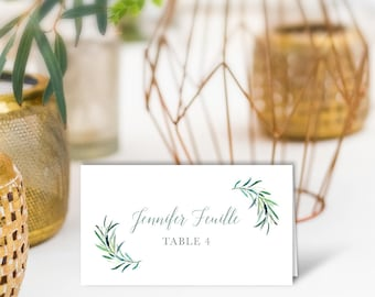 Greenery Wedding Place Cards /Eucalyptus Crest / Initial Monogram Crest, Eucalyptus Leaves / PRINTED Name Card, Tent Card, Food Label