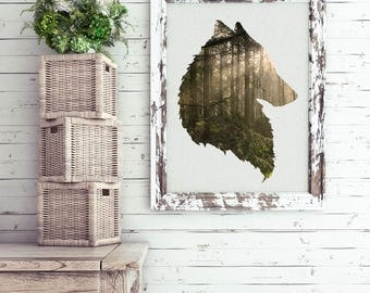 Wolf wall art, giclee print, fine art photography, forest scene, home decor ideas, wolf silhouette, dog pictures, gifts for him, wolves