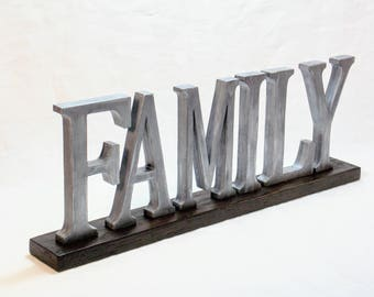 FAMILY Sign - Wooden Word Sign - Farmhouse Decor - Wood Letters - Wood Sign - Word Sign - Word Art Wood Sign - Words