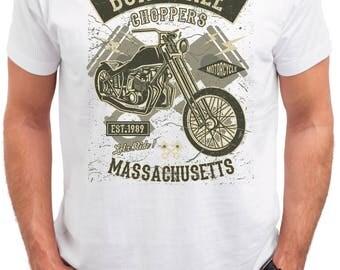 Choppers. Born free. Men's white cotton t-shirt