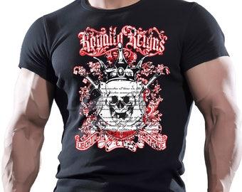 Royalty Reigns. Men's black cotton t-shirt