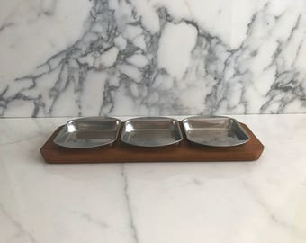 Vintage Mid Century Modern Teak Wood and Stainless Steel 3 Compartment Snack Platter Tray DENMARK Liithje Wood Danish Design